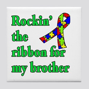 Autism Ribbon for My Brother Tile Coaster