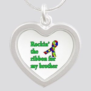 Autism Ribbon for My Brother Silver Heart Necklace