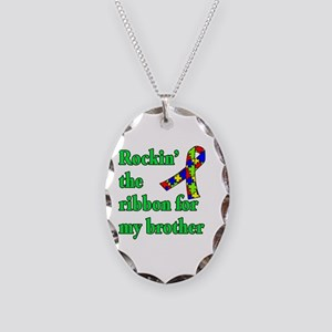 Autism Ribbon for My Brother Necklace Oval Charm
