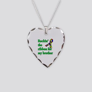 Autism Ribbon for My Brother Necklace Heart Charm