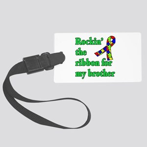 Autism Ribbon for My Brother Large Luggage Tag