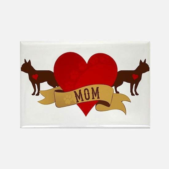 Boston Terrier Mom Rectangle Magnet