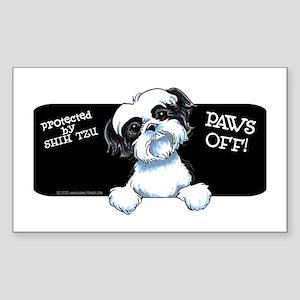 B/W Shih Tzu Paws Off Sticker (Rectangle)