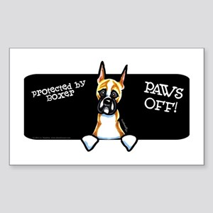 Boxer Crop Ear Paws Off Sticker (Rectangle)