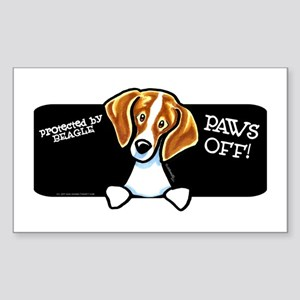 Beagle Paws Off Sticker (Rectangle)