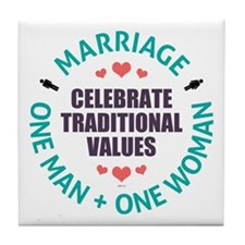 Celebrate Traditional Values Tile Coaster