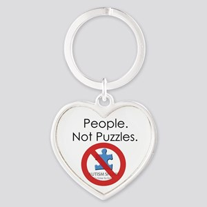People, Not Puzzles Heart Keychain