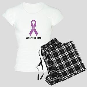 Purple Awareness Ribbon Cus Women's Light Pajamas