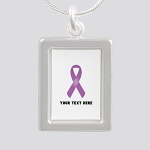 Purple Awareness Ribbon Silver Portrait Necklace