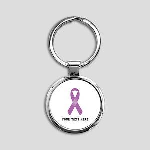 Purple Awareness Ribbon Customized Round Keychain