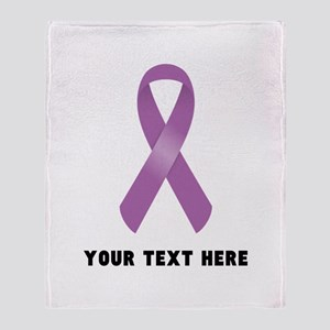 Purple Awareness Ribbon Customized Throw Blanket