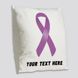 Purple Awareness Ribbon Custom Burlap Throw Pillow