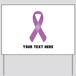 Purple Awareness Ribbon Customized Yard Sign