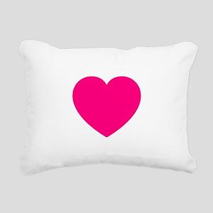 Hot Pink Heart Rectangular Canvas Pillow