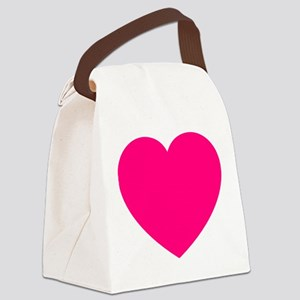 Hot Pink Heart Canvas Lunch Bag