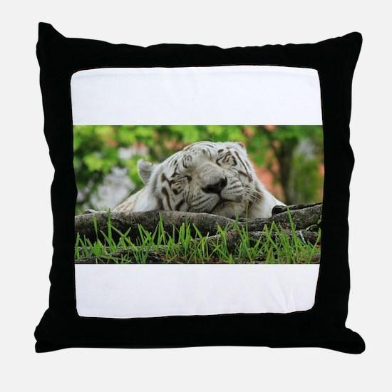 Sleeping Beauty/Bengal White Tiger Throw Pillow