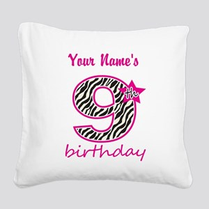 9th Birthday - Personalized Square Canvas Pillow