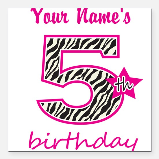 """5th Birthday - Personalized Square Car Magnet 3"""" x"""