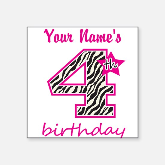 4th Birthday - Personalized Sticker