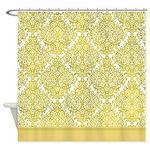 Matte Gold-like damask shower curtain