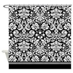 Fancy Black and white damask Shower Curtain