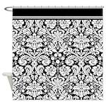 Stylish Black Damask Shower Curtain