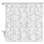 Silver Damask Shower Curtain