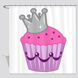Purple silver cupcake Shower Curtain