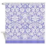 Lilac Purple Damask shower curtain