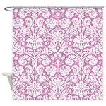 Pink Damask Shower Curtain