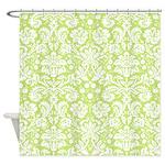 Lime green damask shower curtain