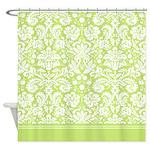 Light Green Damask Shower Curtain