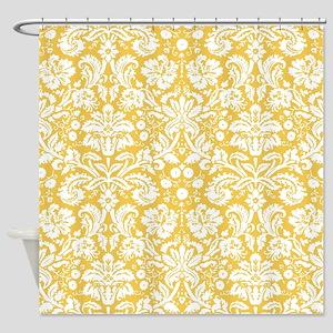 Yellow Damask Shower Curtain