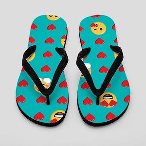 Emoji Hearts Flip Flops