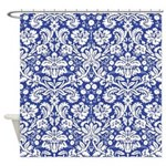 Royal Blue damask shower curtain