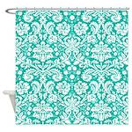 Aqua turquoise damask shower curtain