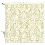 Gold damask shower curtain