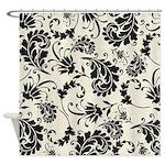 Black and white swirly damask shower curtain