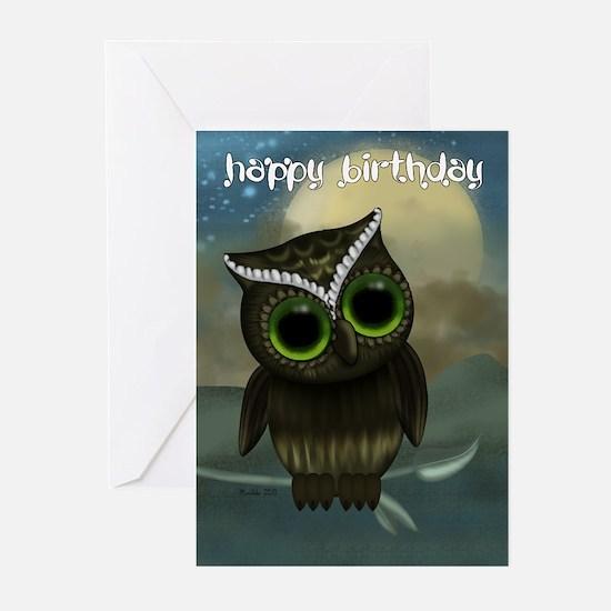 Cut Owl Birthday Greeting Card (Pk of 10)