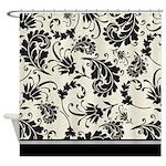 Black and white swirls damask shower curtain