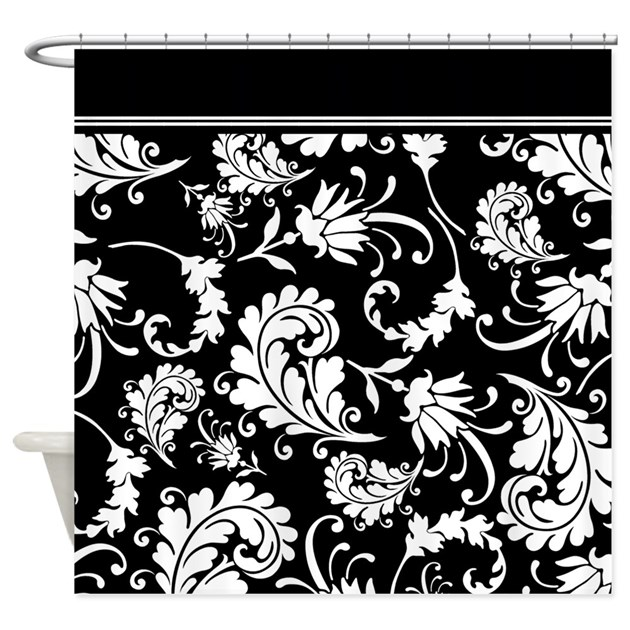 Black And White Swirl Damask Shower Curtain By