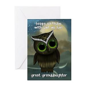 Great Granddaughter Cute Owl Birthday Car Greeting Cards