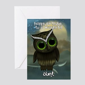 Aunt Cute Owl Birthday Greeting Card