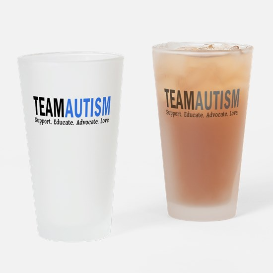 Team Autism (Blue) Drinking Glass