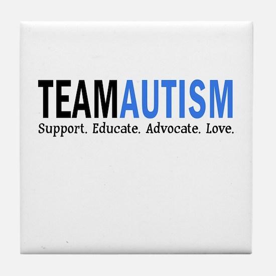 Team Autism (Blue) Tile Coaster