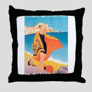 Plage de Calvi Retro Travel P Throw Pillow
