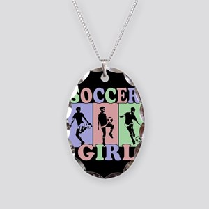 Cute Girls Soccer design Necklace Oval Charm