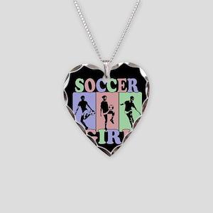 Cute Girls Soccer design Necklace Heart Charm