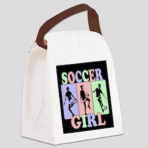 Cute Girls Soccer design Canvas Lunch Bag