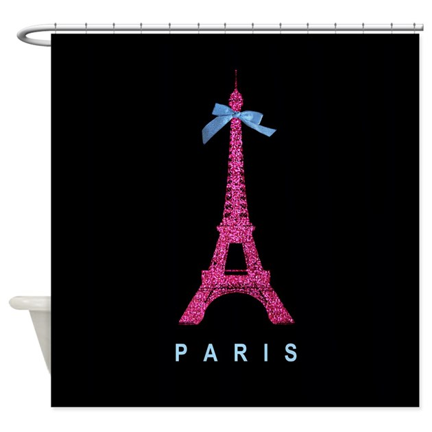As Creation Pink Paris Pattern Eiffel Tower Childrens: Pink Paris Eiffel Tower Black Shower Curtain By